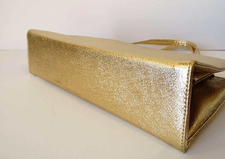 1960s Metallic Gold Pocket Handbag  For Sale 1