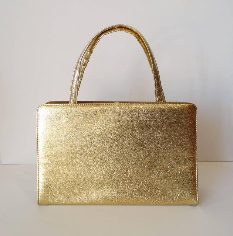Brown 1960s Metallic Gold Pocket Handbag  For Sale