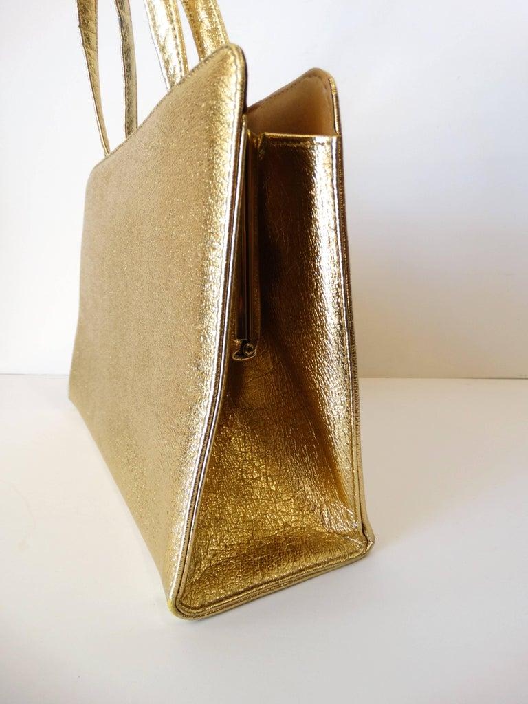 Women's 1960s Metallic Gold Pocket Handbag  For Sale