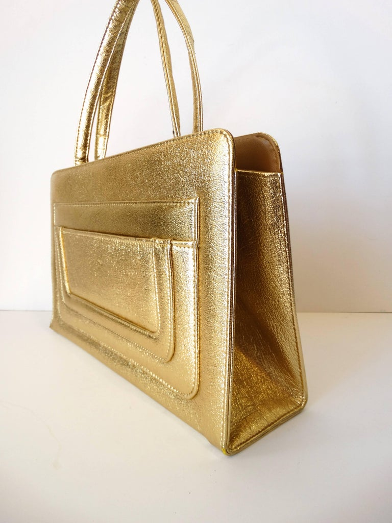 1960s Metallic Gold Pocket Handbag  In Excellent Condition For Sale In Scottsdale, AZ