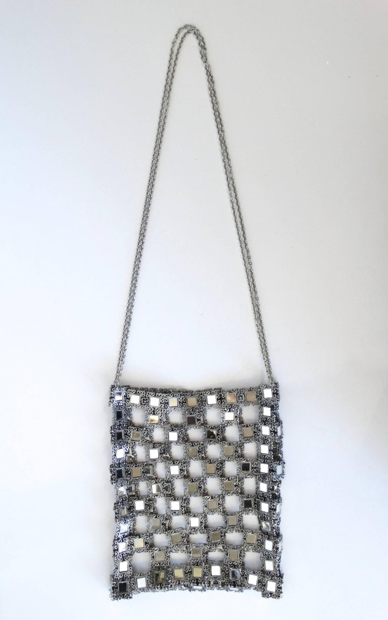 1990s Clara Kasavina Mirrored Evening Bag  In Excellent Condition For Sale In Scottsdale, AZ