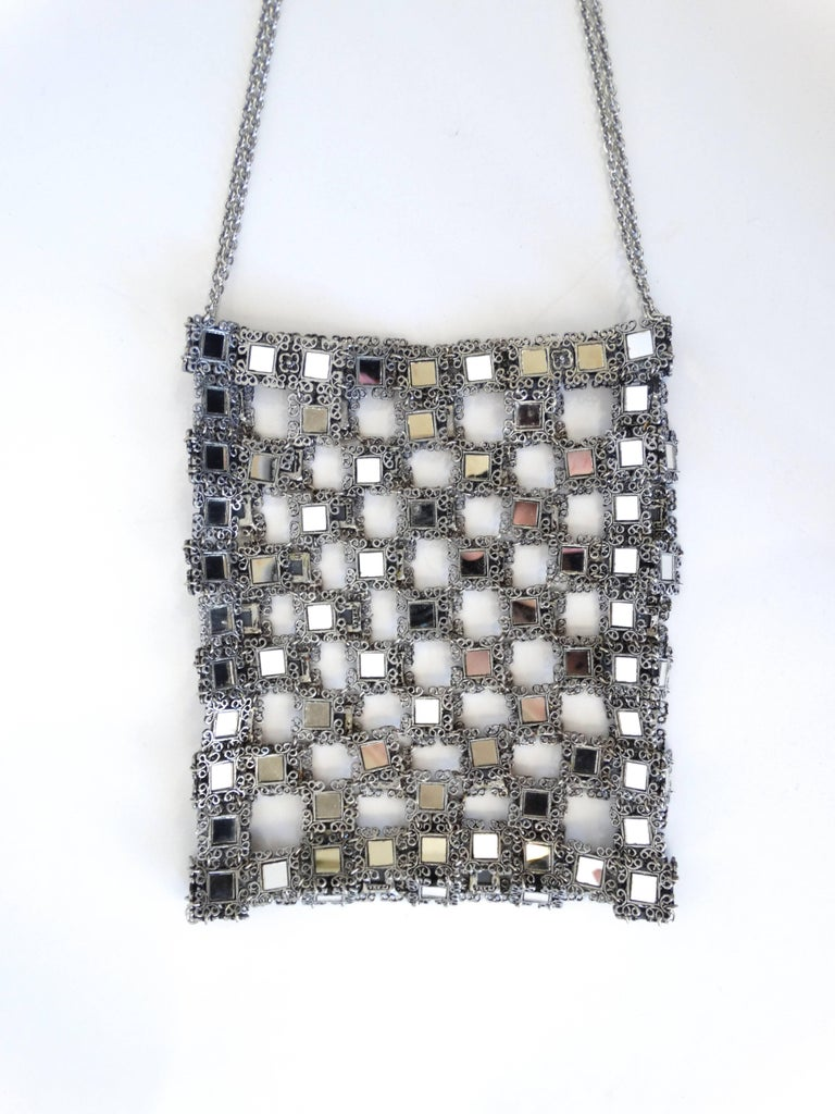 Women's 1990s Clara Kasavina Mirrored Evening Bag  For Sale