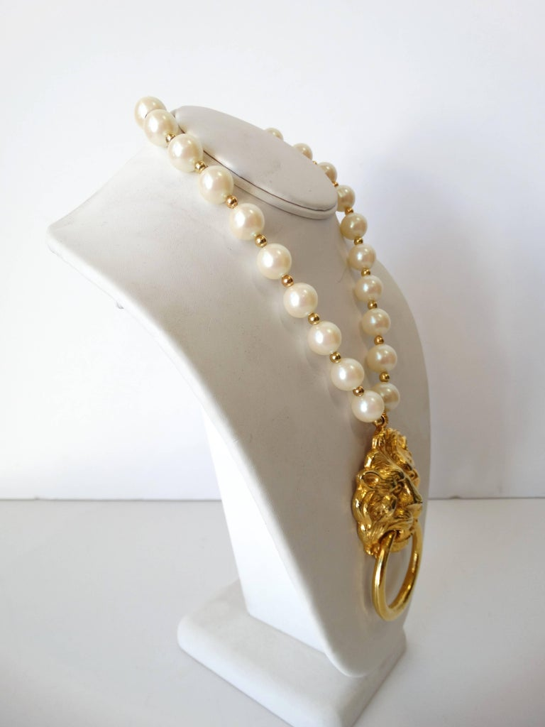 1980s Donald Stannard Pearl Lion Door Knocker Necklace At