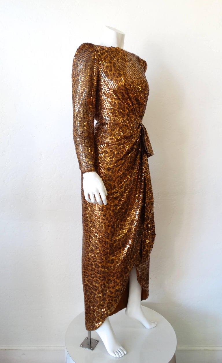1980s Saks Fifth Avenue Mignon Sequin Leopard Gown In Excellent Condition For Sale In Scottsdale, AZ