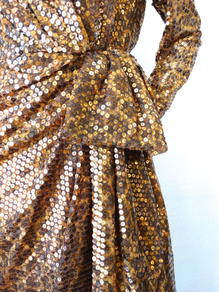 Brown 1980s Saks Fifth Avenue Mignon Sequin Leopard Gown For Sale
