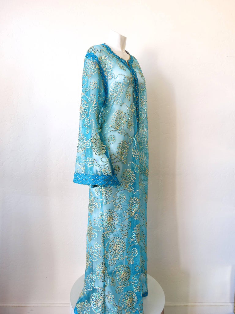 1970s Sheer Blue Super Model Length Sequin Kaftan Dress For Sale 3