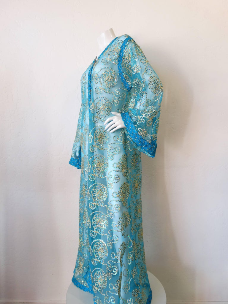 1970s Sheer Blue Super Model Length Sequin Kaftan Dress For Sale 5