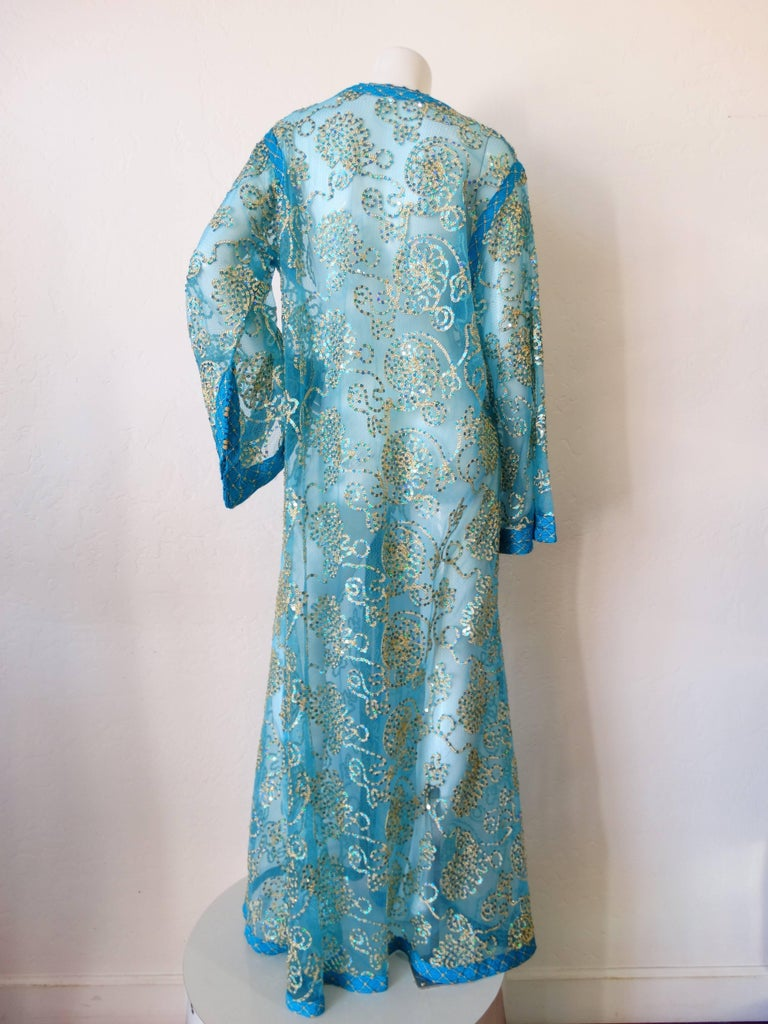 1970s Sheer Blue Super Model Length Sequin Kaftan Dress For Sale 4