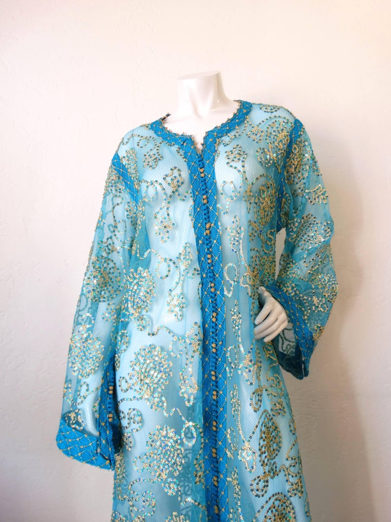 1970s Sheer Blue Super Model Length Sequin Kaftan Dress In Excellent Condition For Sale In Scottsdale, AZ