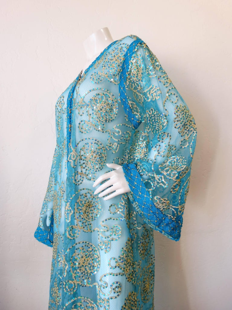 1970s Sheer Blue Super Model Length Sequin Kaftan Dress For Sale 6