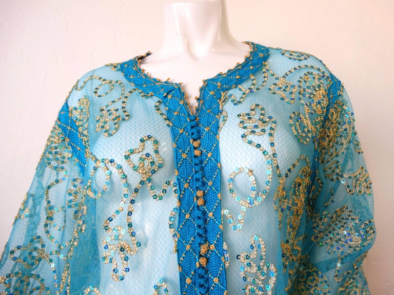 1970s Sheer Blue Super Model Length Sequin Kaftan Dress For Sale 1