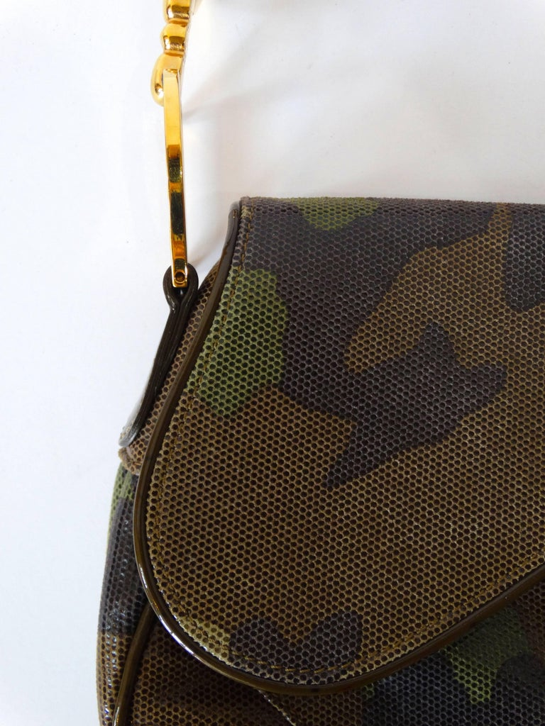 Christian Dior Camouflage Saddle Bag In Excellent Condition For Sale In Scottsdale, AZ