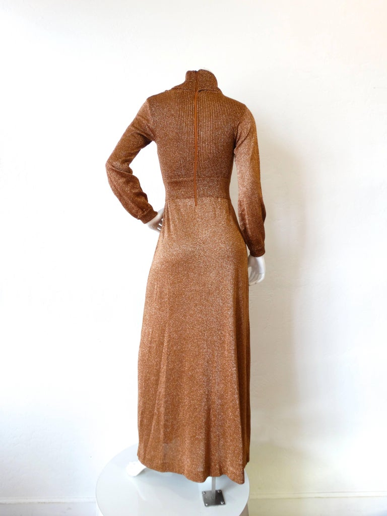 1970s Wenjilli Metallic Lurex Maxi Gown In Excellent Condition For Sale In Scottsdale, AZ