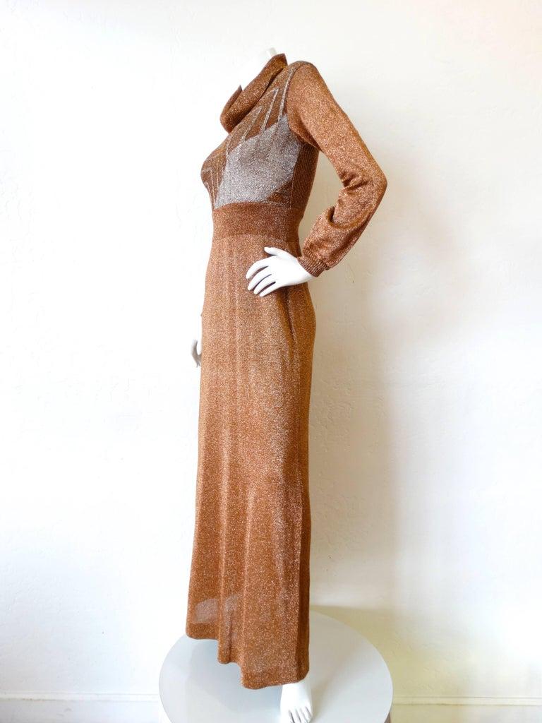 1970s Wenjilli Metallic Lurex Maxi Gown For Sale 1