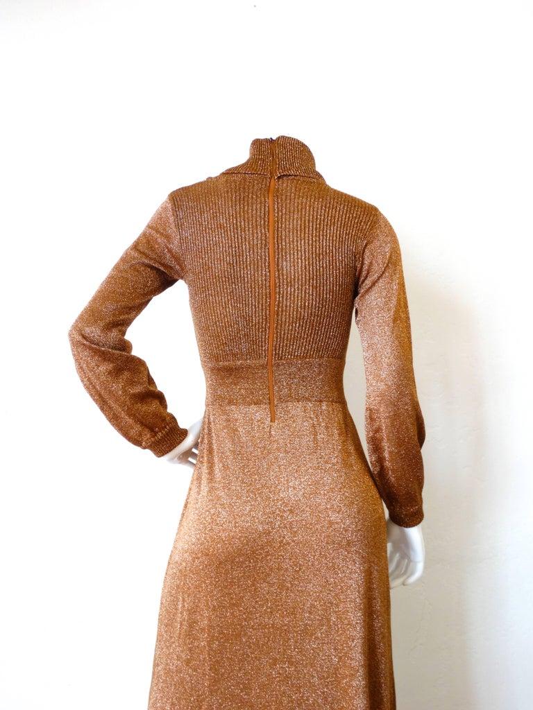 Women's 1970s Wenjilli Metallic Lurex Maxi Gown For Sale