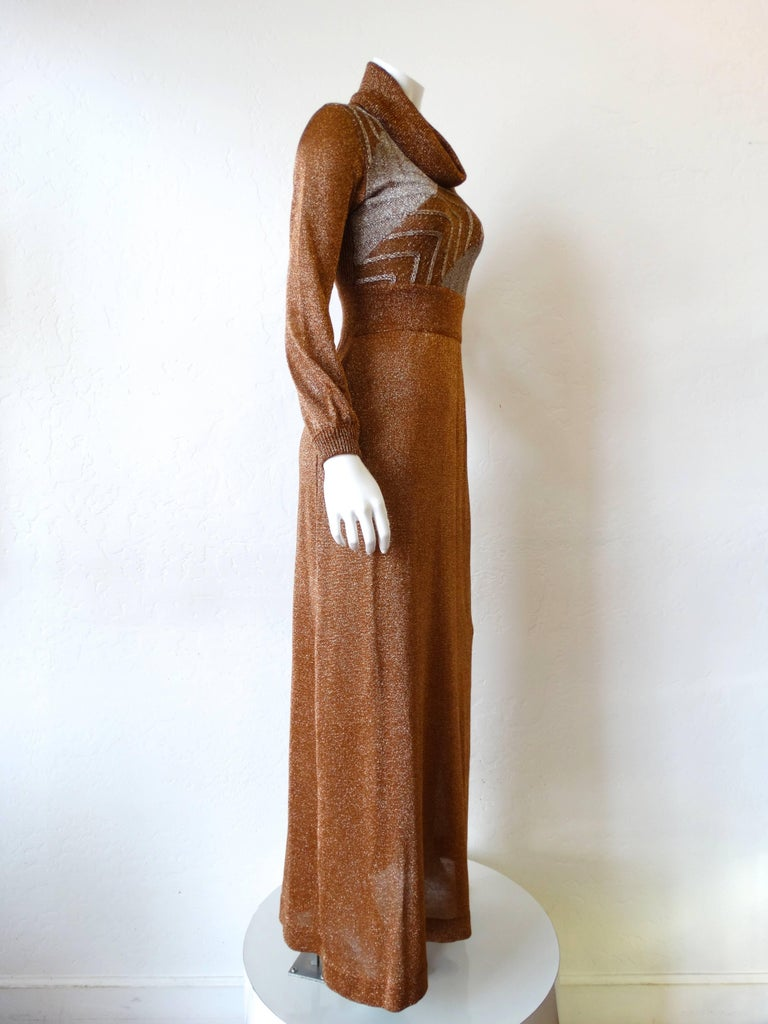 Brown 1970s Wenjilli Metallic Lurex Maxi Gown For Sale