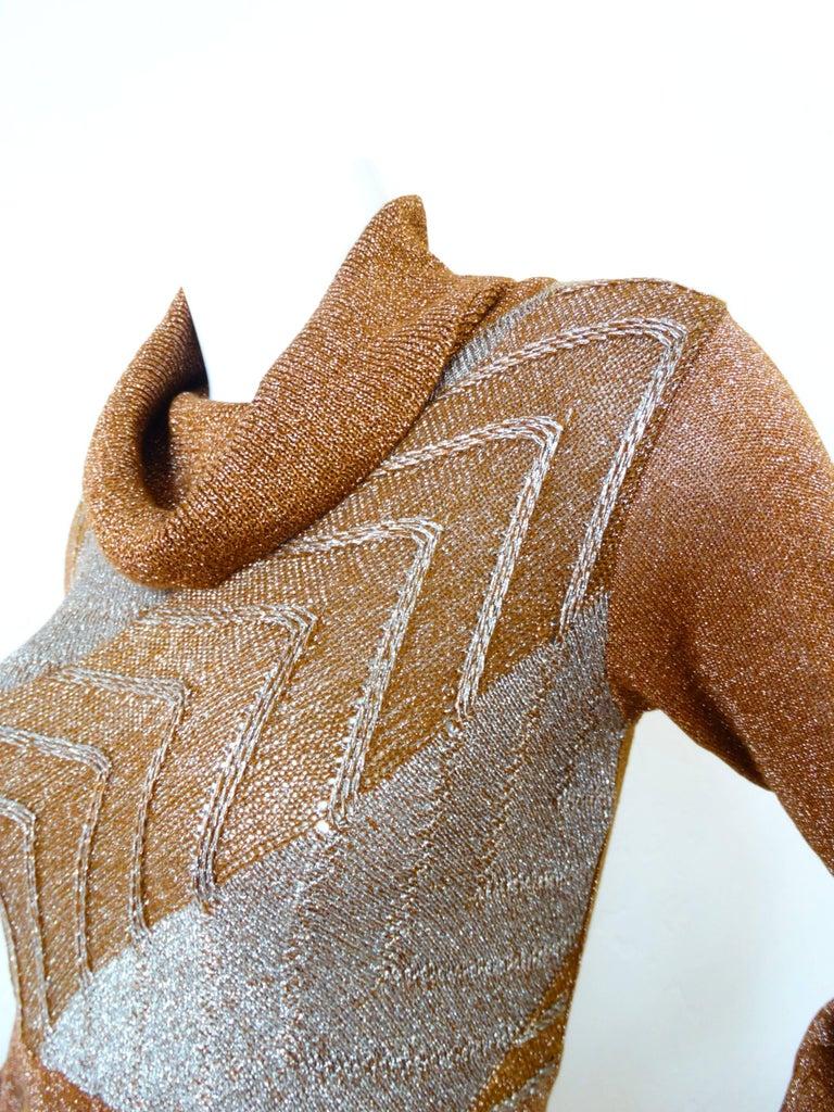 1970s Wenjilli Metallic Lurex Maxi Gown For Sale 2