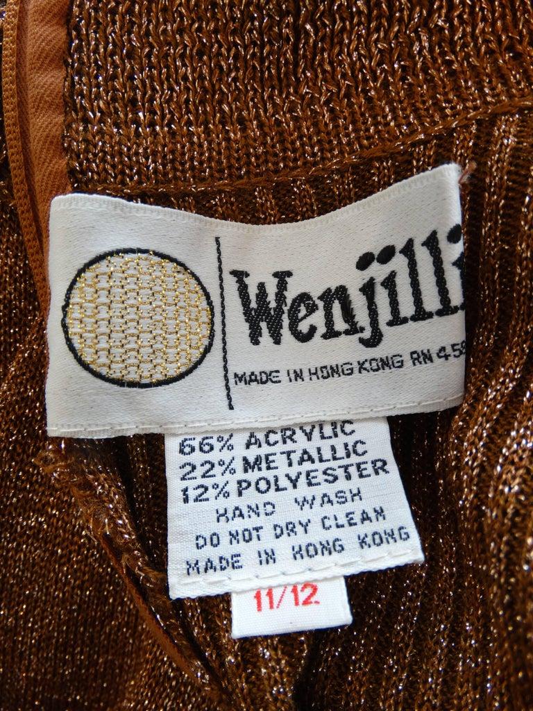 1970s Wenjilli Metallic Lurex Maxi Gown For Sale 3
