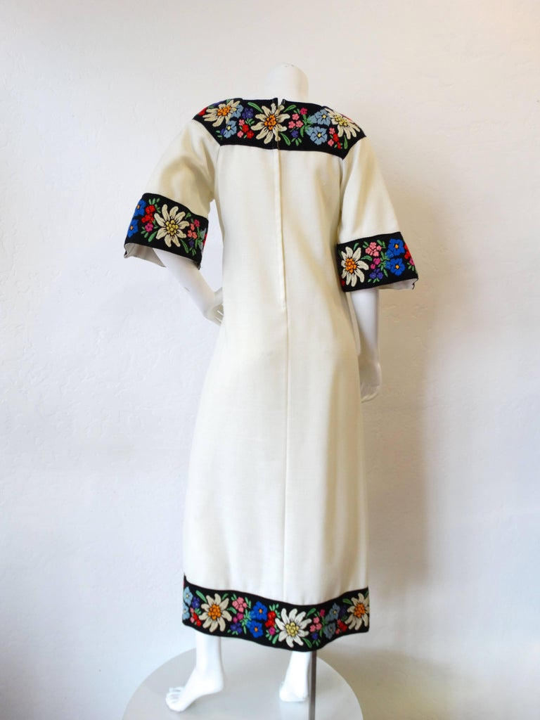 1970s Embroidered Tassel Maxi Dress For Sale 1