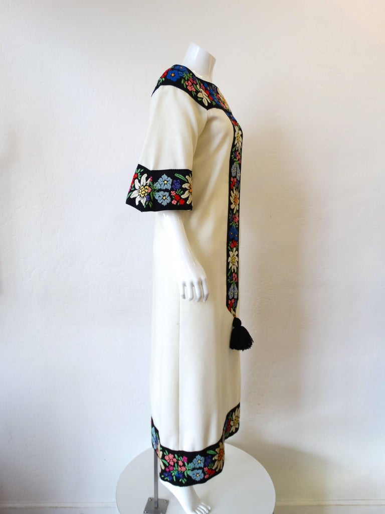 Women's 1970s Embroidered Tassel Maxi Dress For Sale