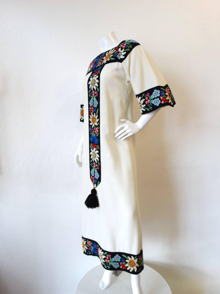 1970s Embroidered Tassel Maxi Dress For Sale 2