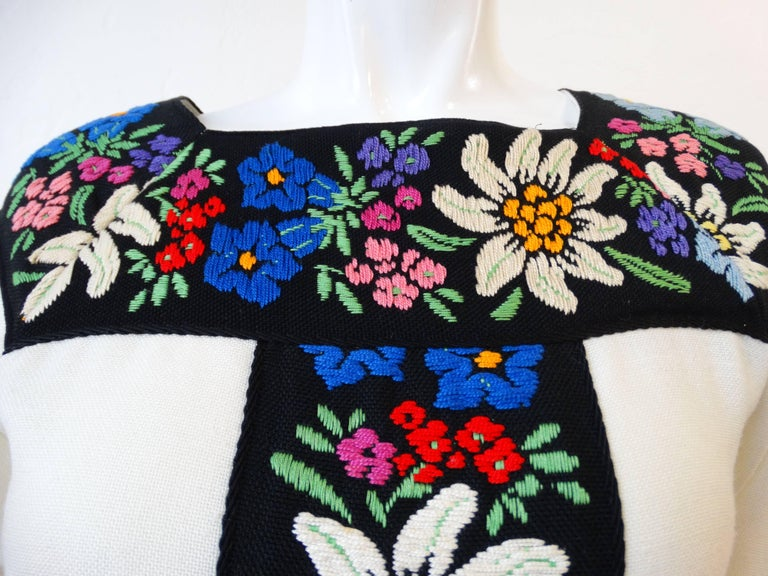 1970s Embroidered Tassel Maxi Dress In Excellent Condition For Sale In Scottsdale, AZ