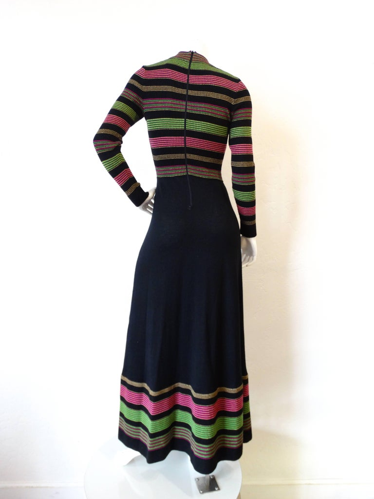Women's 1970s Saks Fifth Avenue Lurex Knit Striped Dress For Sale