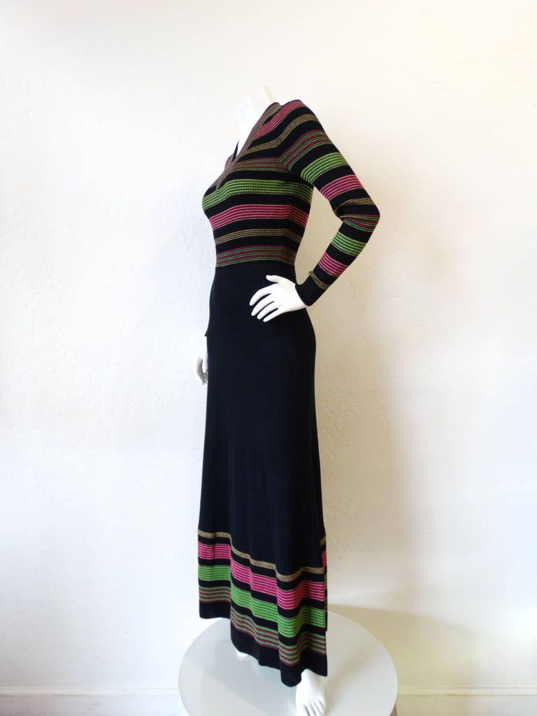 1970s Saks Fifth Avenue Lurex Knit Striped Dress For Sale 1