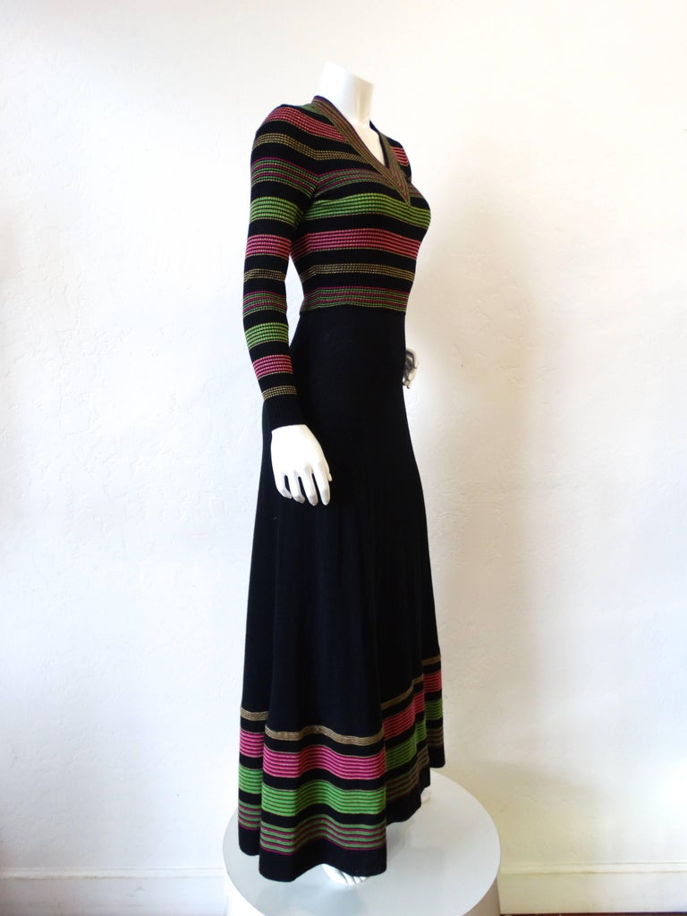 Black 1970s Saks Fifth Avenue Lurex Knit Striped Dress For Sale