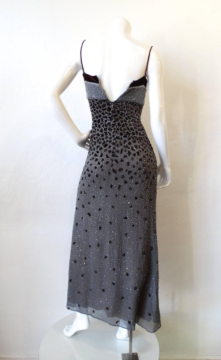 1990s Fiandaca Beaded Velvet Evening Dress For Sale At 1stdibs