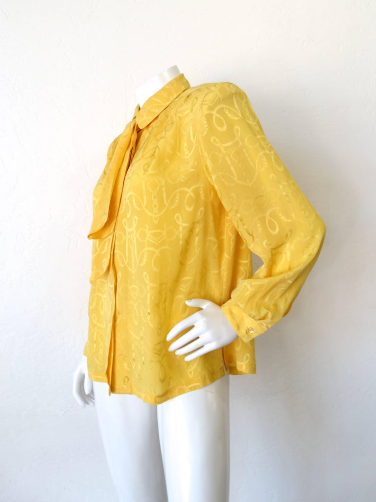 1980s Hermes Gold Ascot Blouse For Sale 2