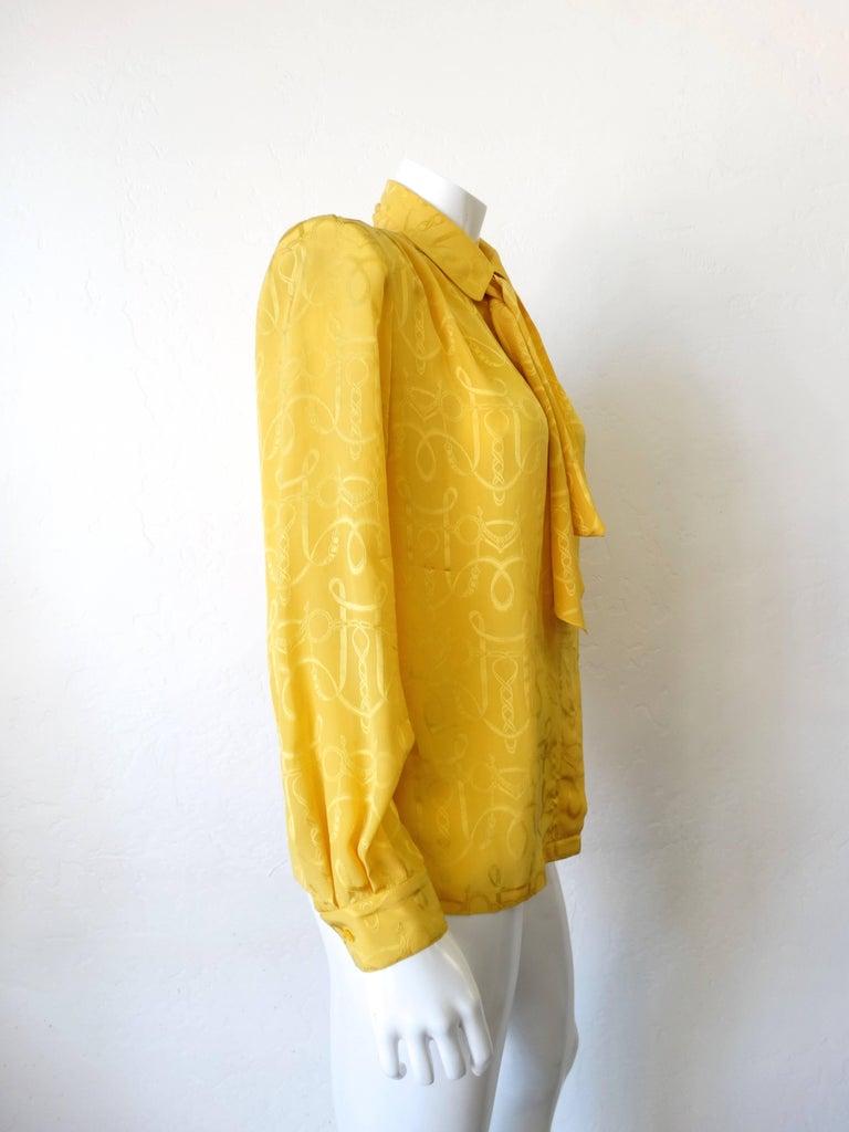 Women's 1980s Hermes Gold Ascot Blouse For Sale