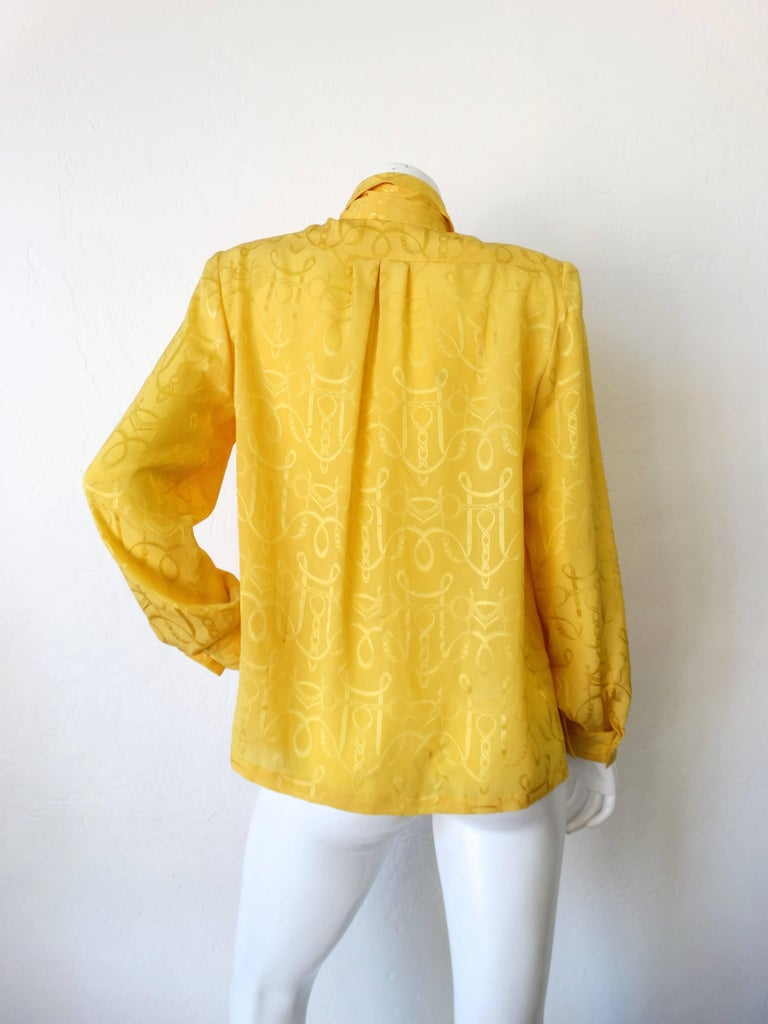 1980s Hermes Gold Ascot Blouse For Sale 1