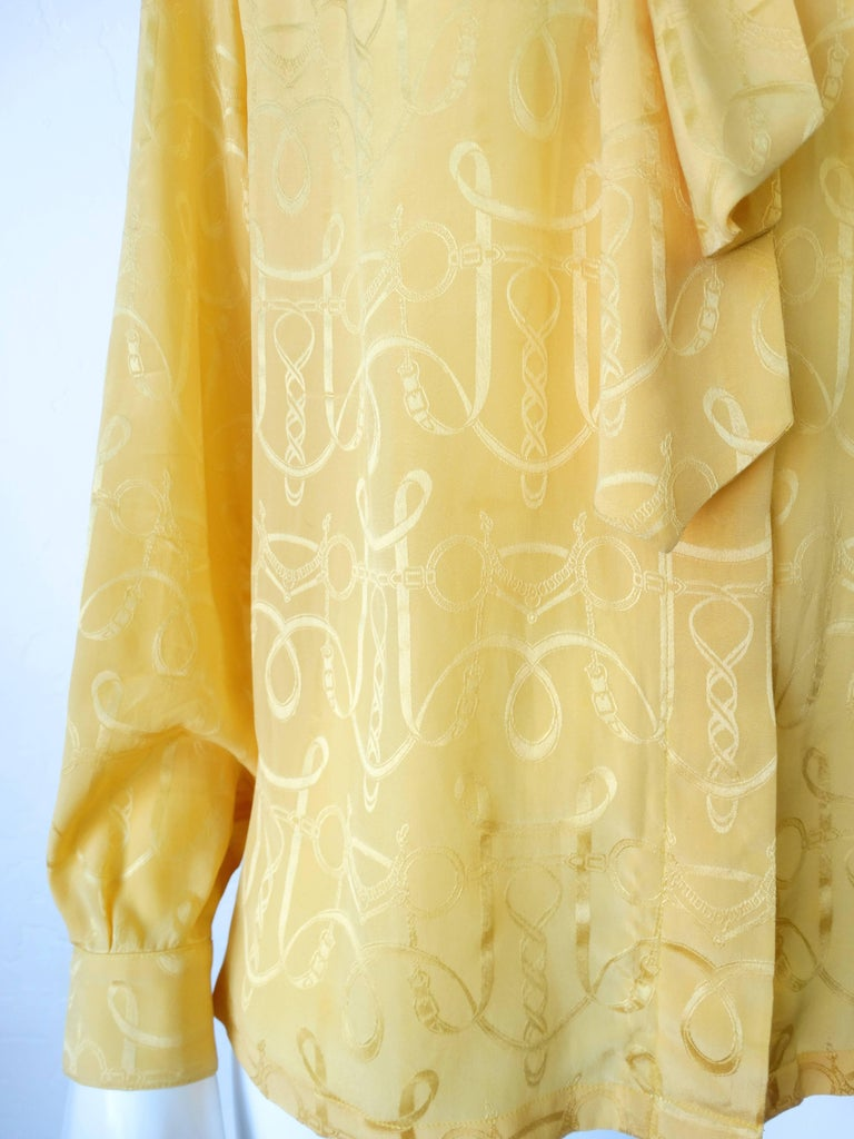 1980s Hermes Gold Ascot Blouse In Excellent Condition For Sale In Scottsdale, AZ
