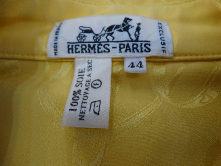 1980s Hermes Gold Ascot Blouse For Sale 3