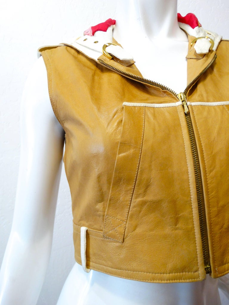 Brown 2000s Christian Dior Leather Cropped Sleeveless Hoodie  For Sale