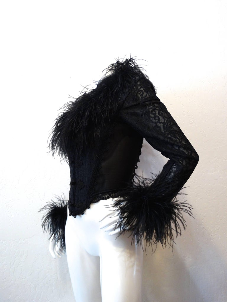 1990s Ostrich Feather Corset Bustier Top  For Sale 2