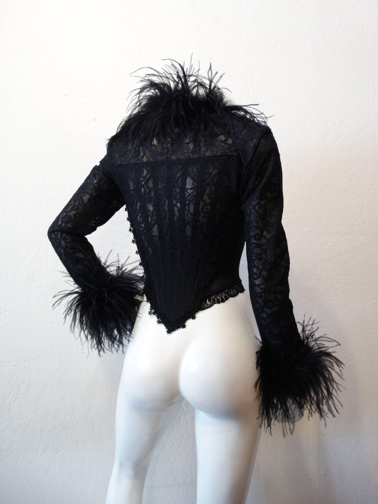 Women's 1990s Ostrich Feather Corset Bustier Top  For Sale