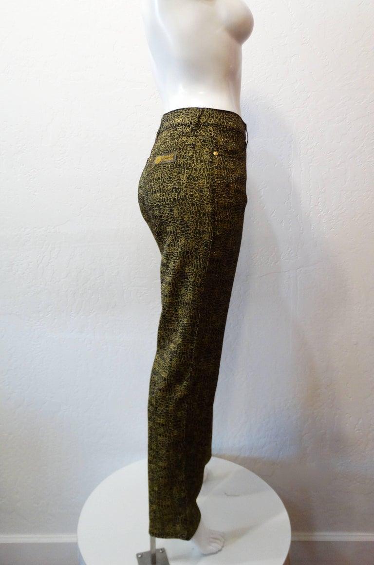 Black 1990s Versace Glitter Monogram Pants  For Sale