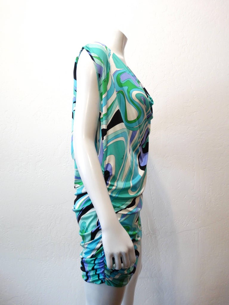 Emilio Pucci Printed Gathered Tunic Necklace Dress In Excellent Condition For Sale In Scottsdale, AZ