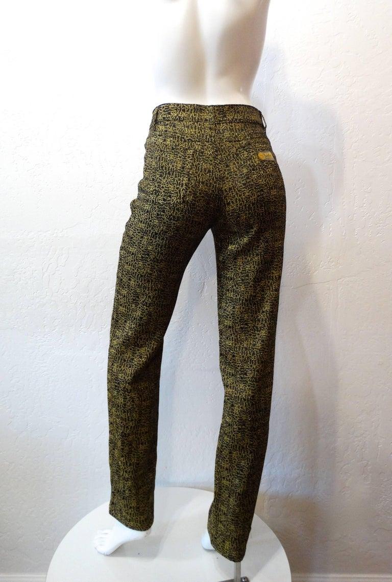 Women's 1990s Versace Glitter Monogram Pants  For Sale