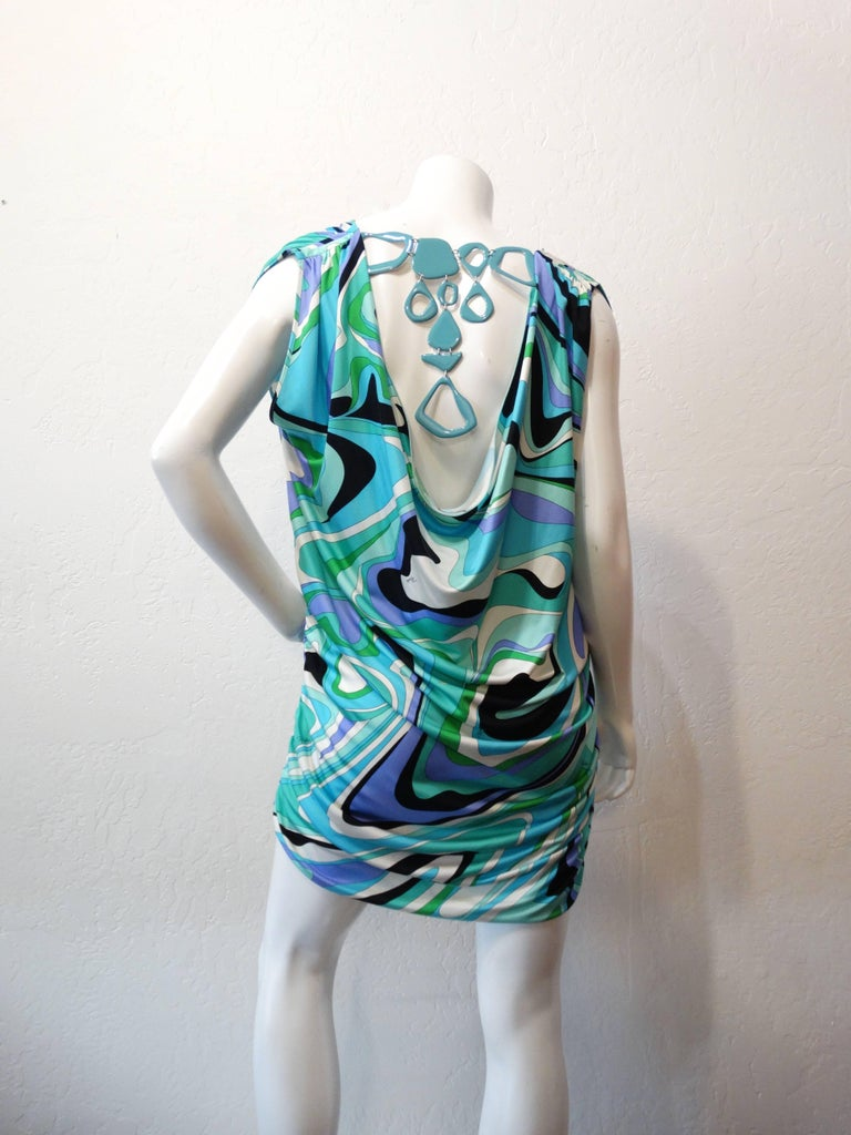 Women's Emilio Pucci Printed Gathered Tunic Necklace Dress For Sale