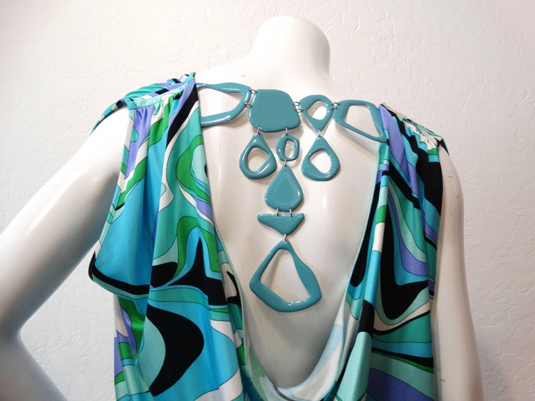 Emilio Pucci Printed Gathered Tunic Necklace Dress For Sale 1
