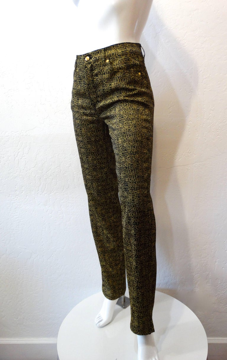 1990s Versace Glitter Monogram Pants  For Sale 3