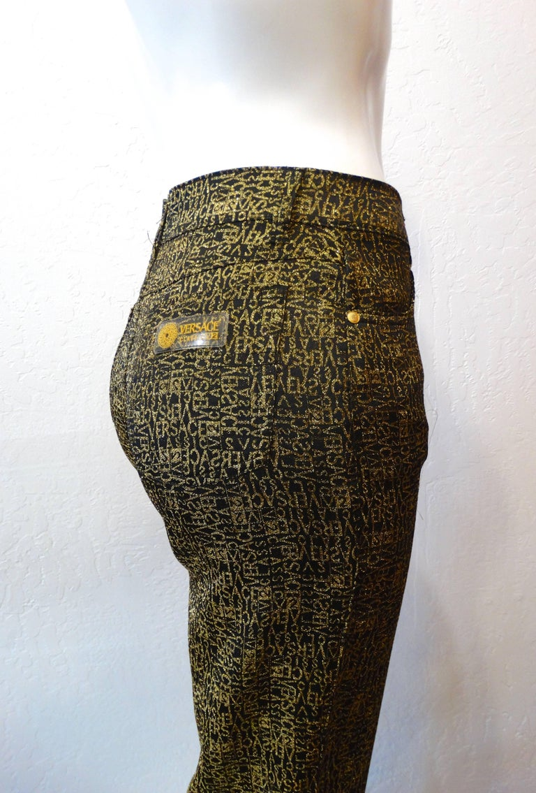 1990s Versace Glitter Monogram Pants  In Excellent Condition For Sale In Scottsdale, AZ