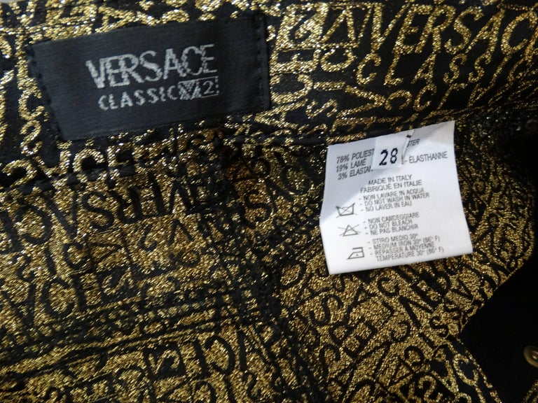 1990s Versace Glitter Monogram Pants  For Sale 4