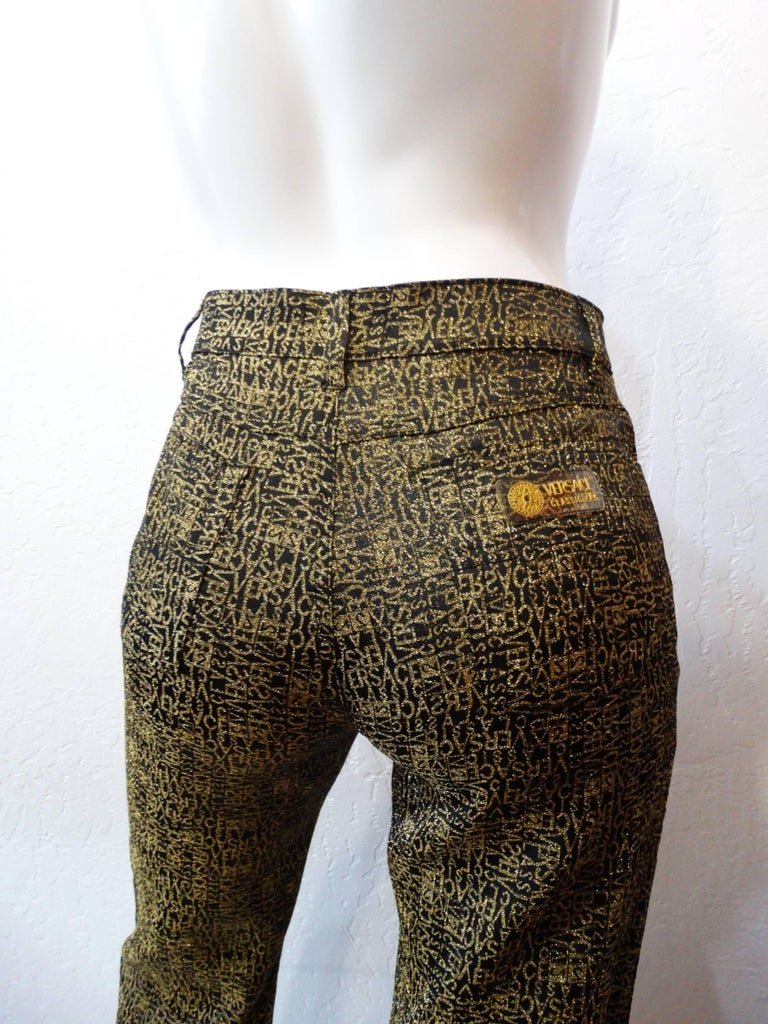 1990s Versace Glitter Monogram Pants  For Sale 1
