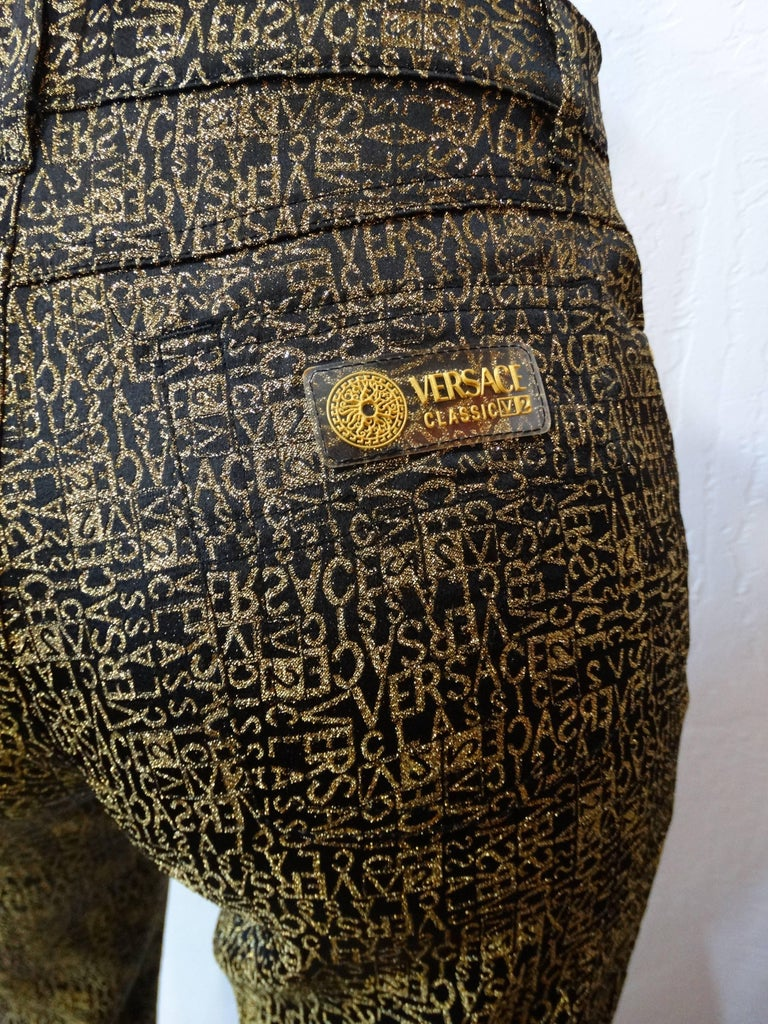 1990s Versace Glitter Monogram Pants  For Sale 2