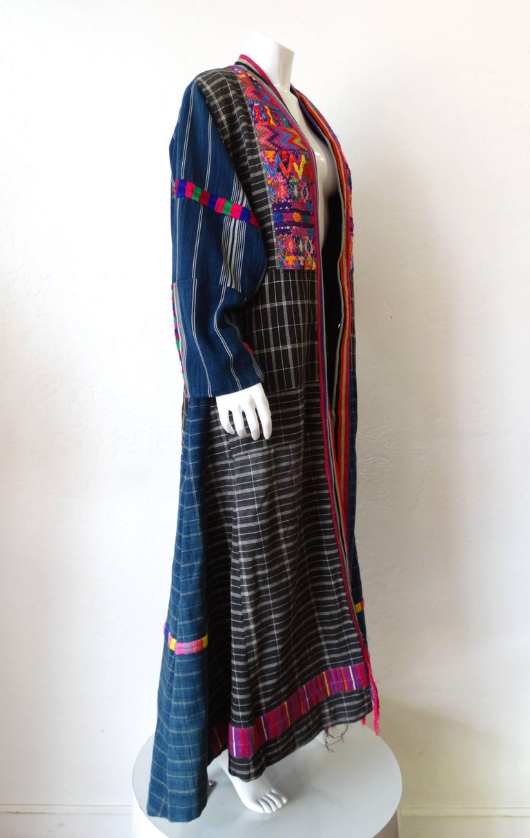 1970s Guatemalan Embroidered Striped Duster Jacket For