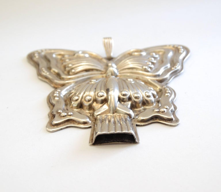 1980s Butterfly Silver Whistle Pendant  In Excellent Condition For Sale In Scottsdale, AZ